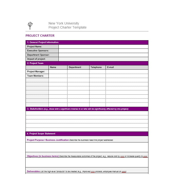 40 project charter templates samples excel word template archive