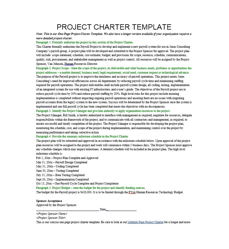wedding project charter 4 food services master plan - the project charter december 2014 iii guiding principles the project will be aligned with the academic plan.