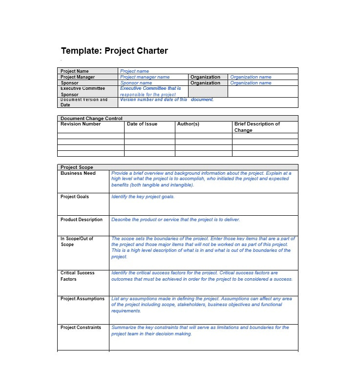 40 project charter templates samples excel word template project charter template 15 pronofoot35fo Gallery
