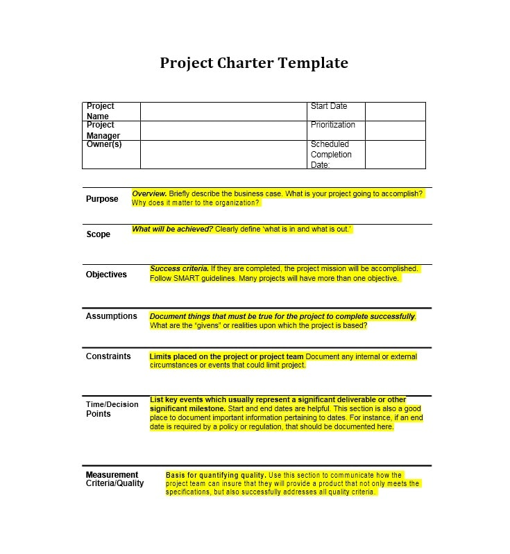 Project Charter Templates  Samples Excel Word  Template