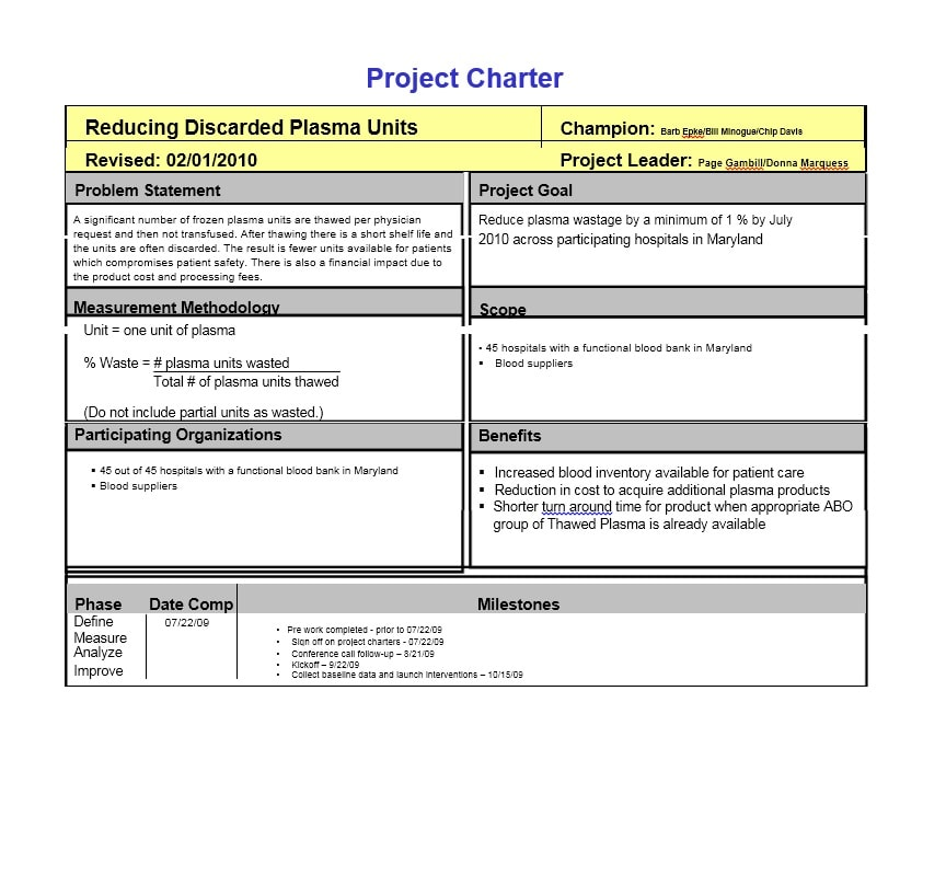 Project Charter Templates  Samples Excel Word  Template Archive
