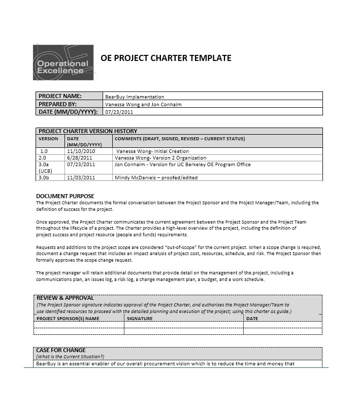 40 Project Charter Templates & Samples [Excel, Word] - Template