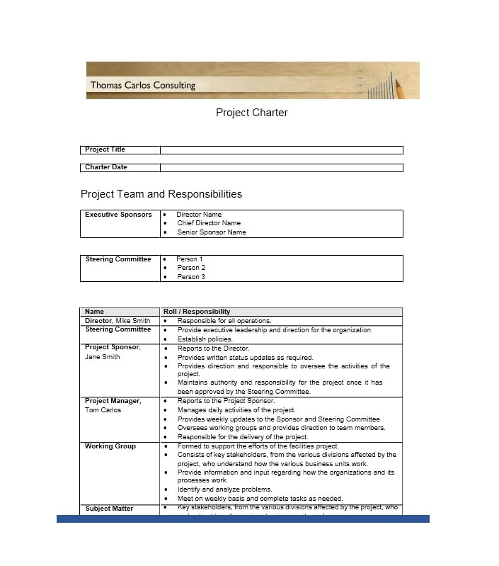 10 project charter templates word excel pdf templates for One page project charter template