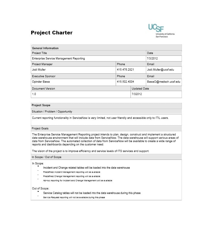 40 Project Charter Templates & Samples [Excel, Word