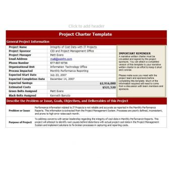 Project Charter Template 40