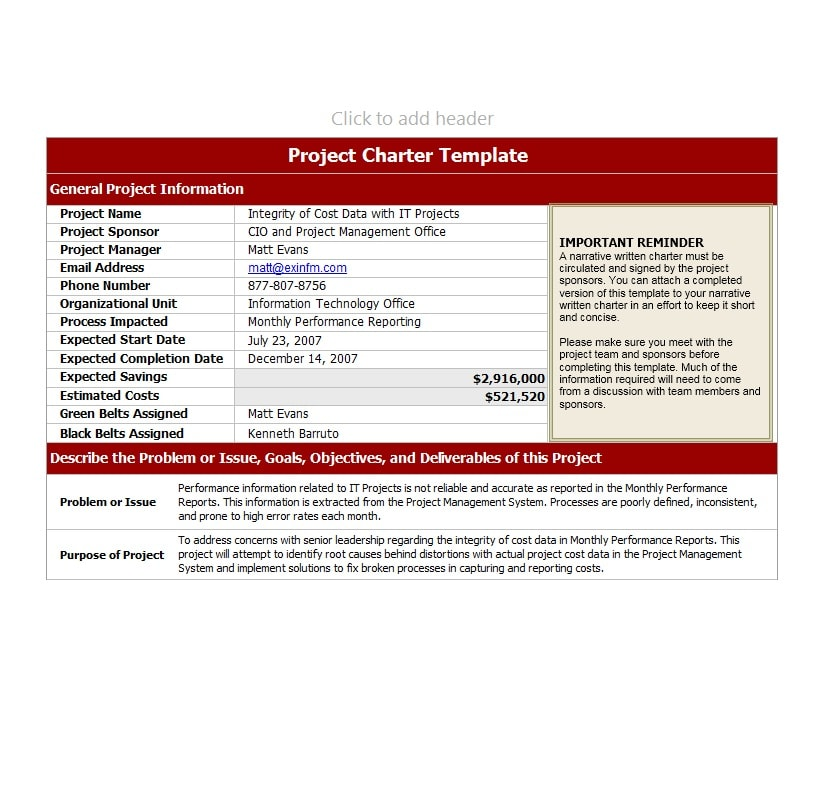 Project Charter Templates Samples Excel Word Template Archive - Project charter template pmi