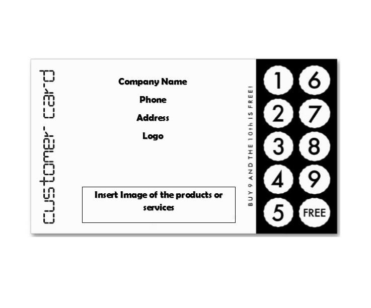 picture regarding Free Printable Punch Card Template named 30 Printable Punch / Benefit Card Templates [101% Cost-free]