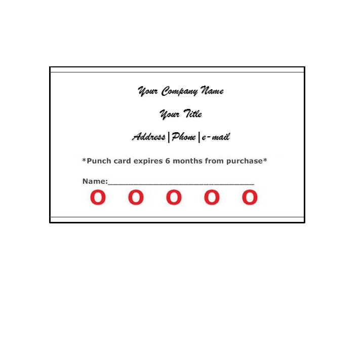 Punch Card Template 17