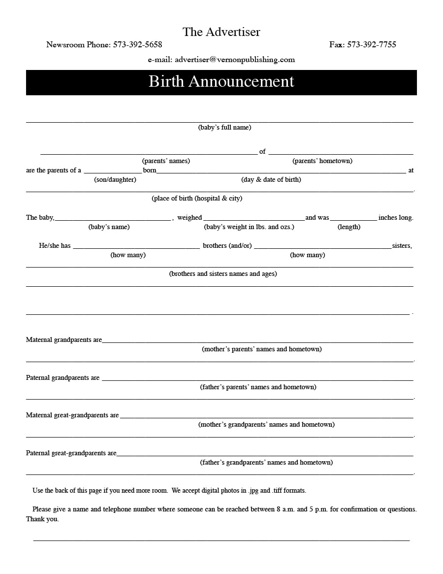 birth announcement template 24