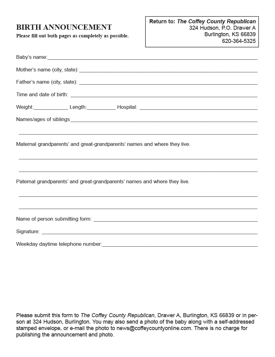 birth announcement template 26