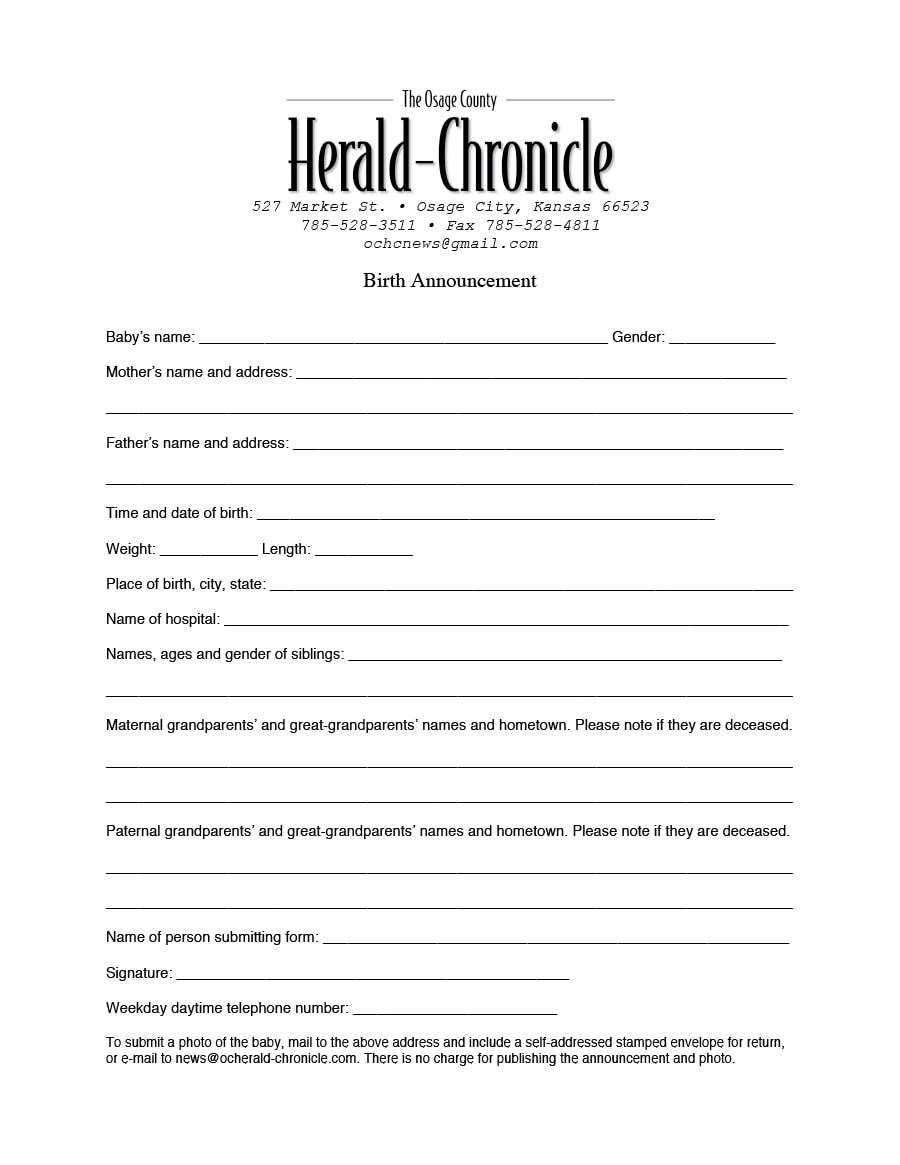 birth announcement template 30