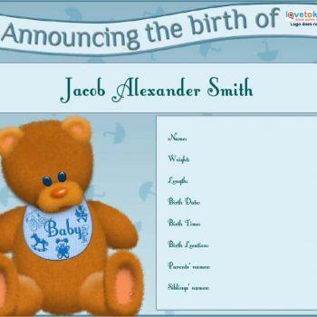 birth announcement template 35