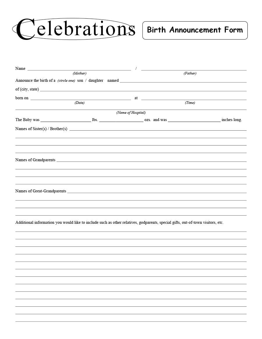 birth announcement template 38