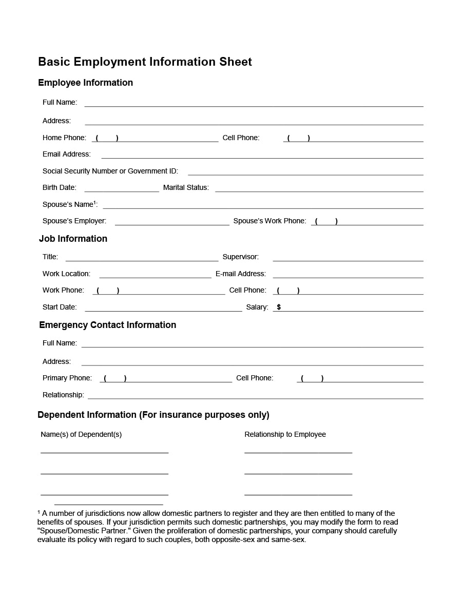 Information Sheets Templates Simple 47 Printable Employee Information Forms Personnel Information Sheets