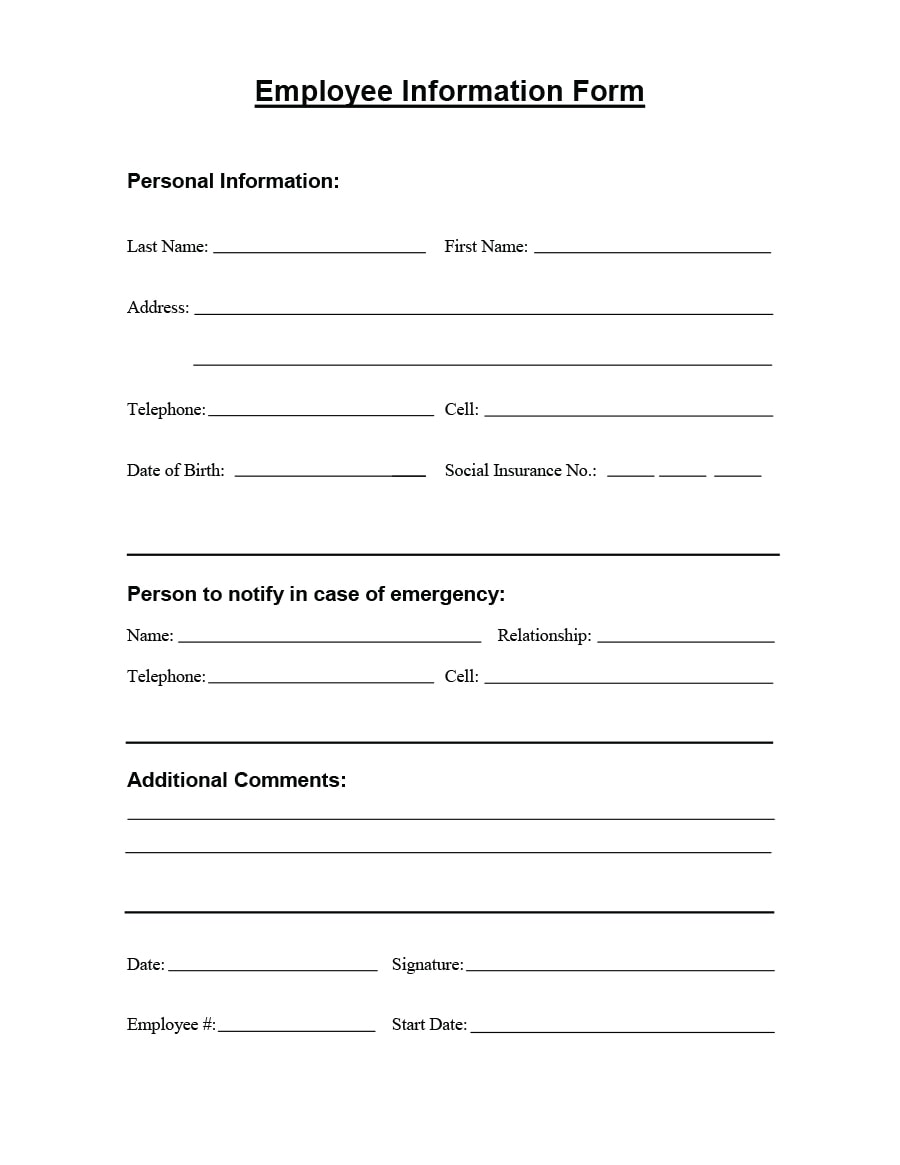 47 printable employee information forms personnel for Next of kin form template uk