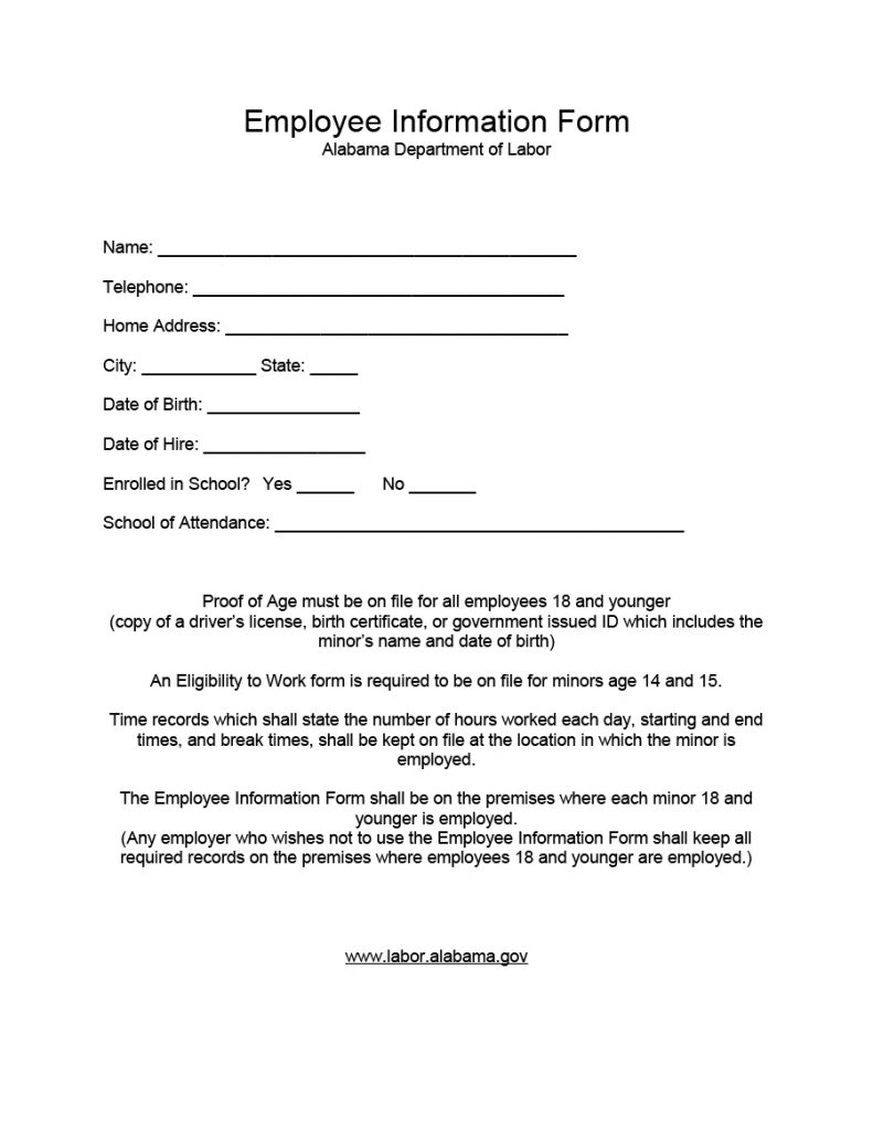 employee information form 03