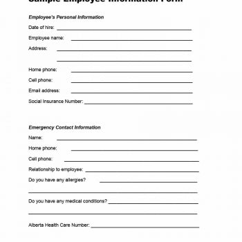 Printable Employee Information Forms Personnel Information Sheets