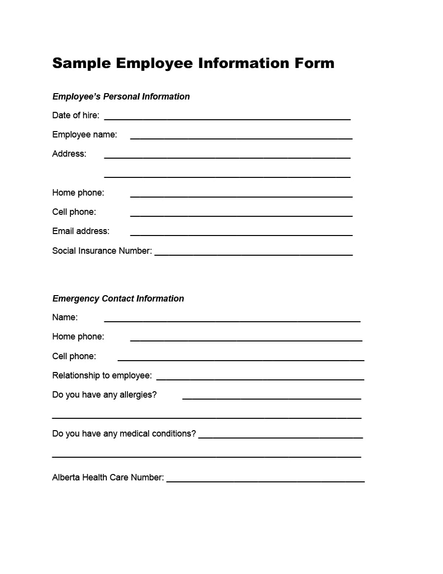 Employee Information Form 07  Contact Info Sheet Template