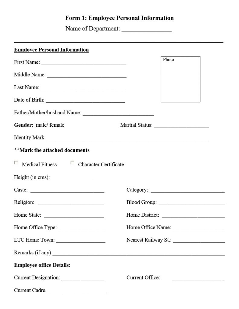 employee information form 09
