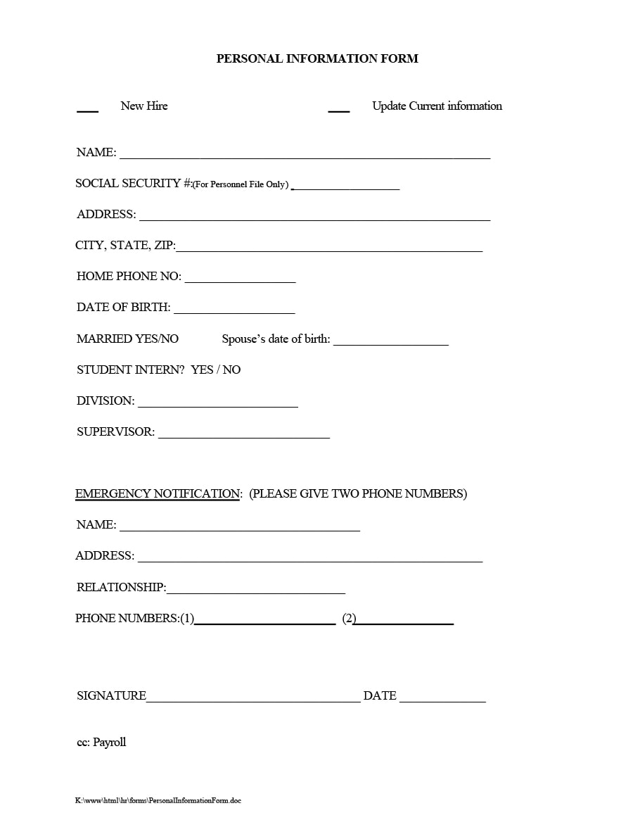 47 printable employee information forms personnel for Update contact information form template