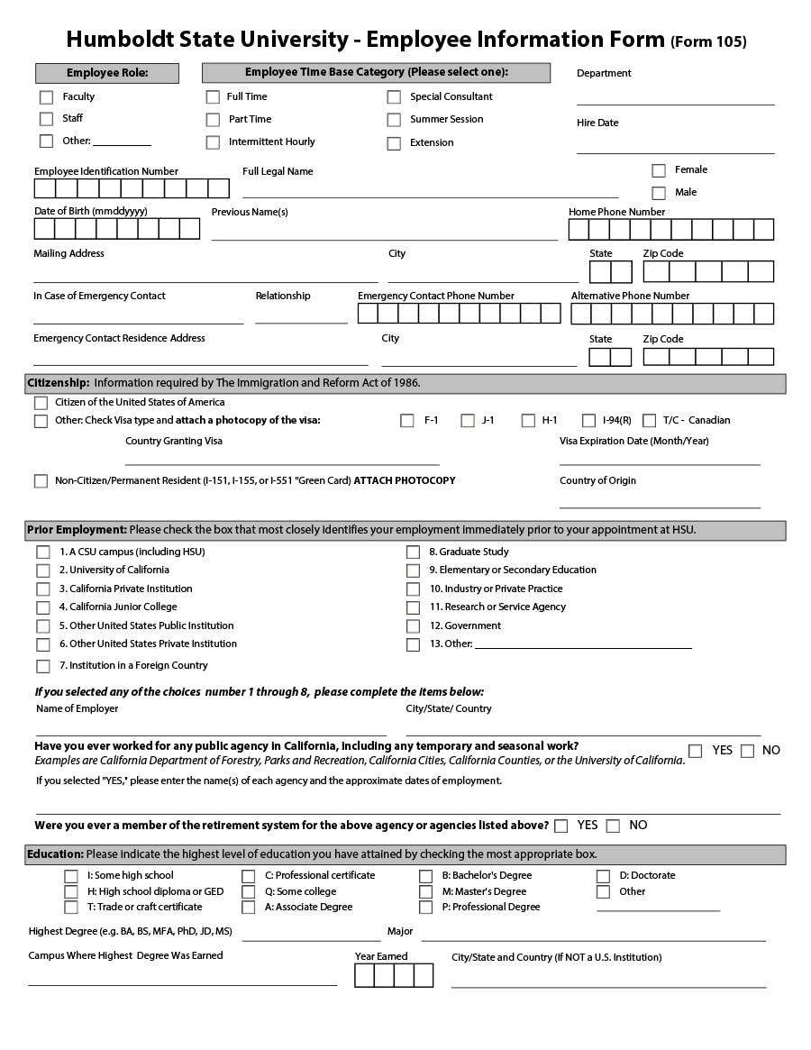 47 printable employee information forms personnel for Employee handbook template canada