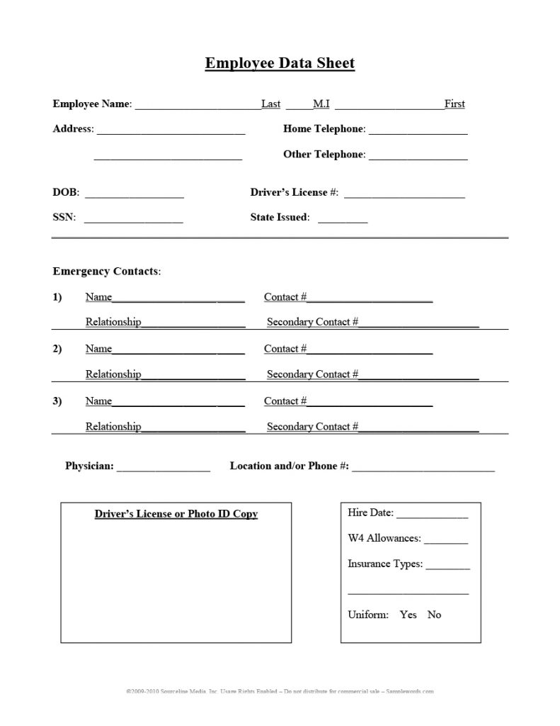 employee information form 17