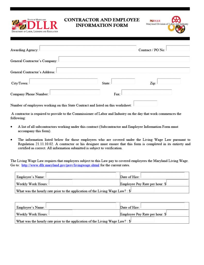 employee information form 19