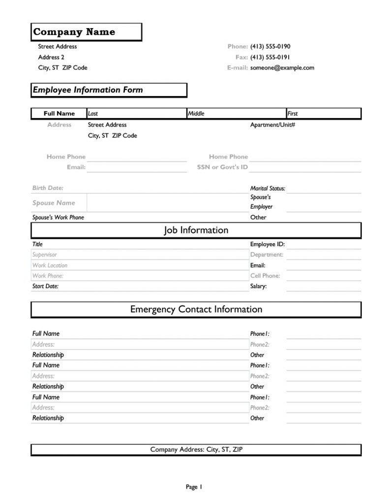 employee information form 30