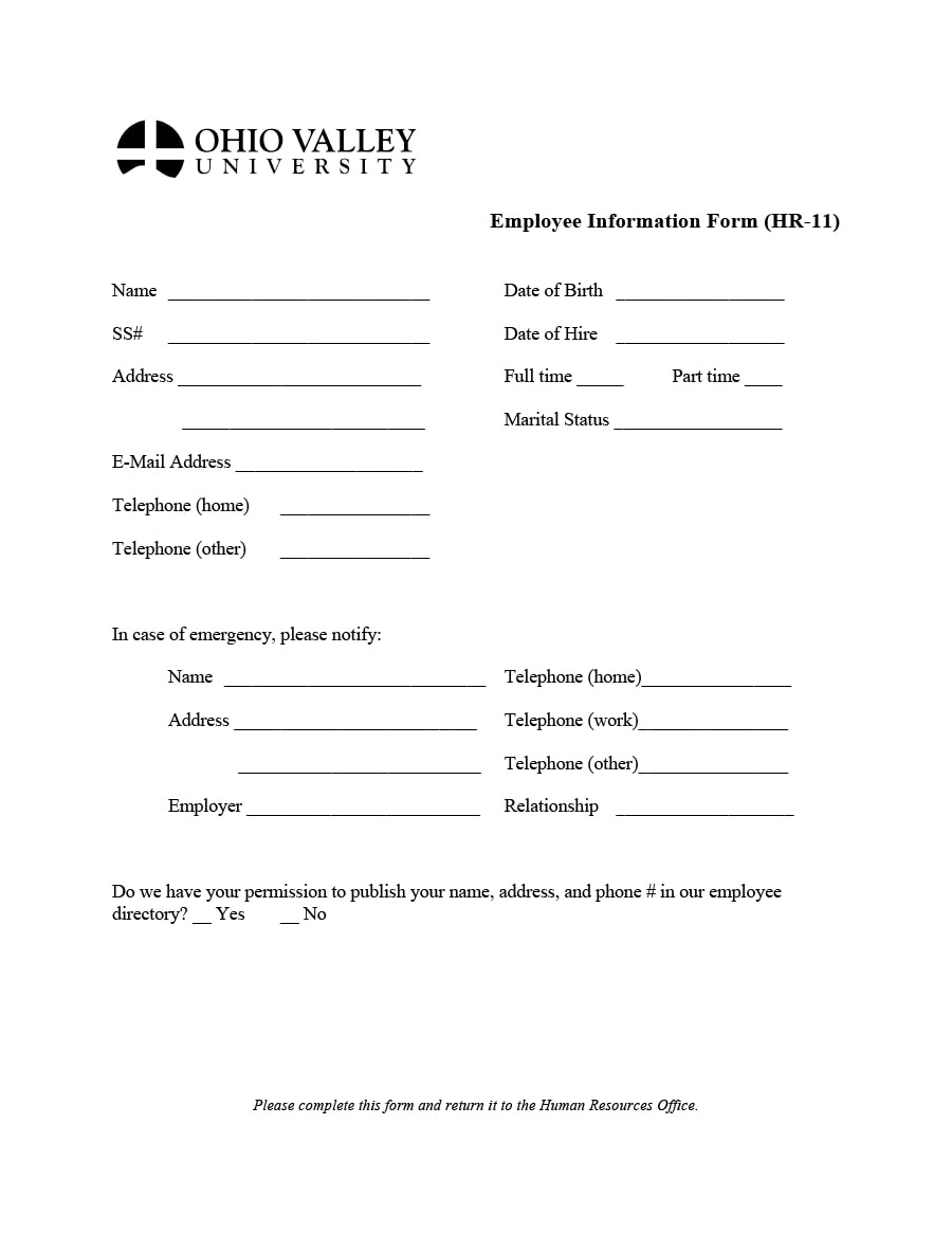 47 printable employee information forms personnel for Next of kin form template