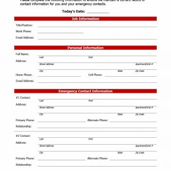 Employee Information Form 38  Contact Information Form Template