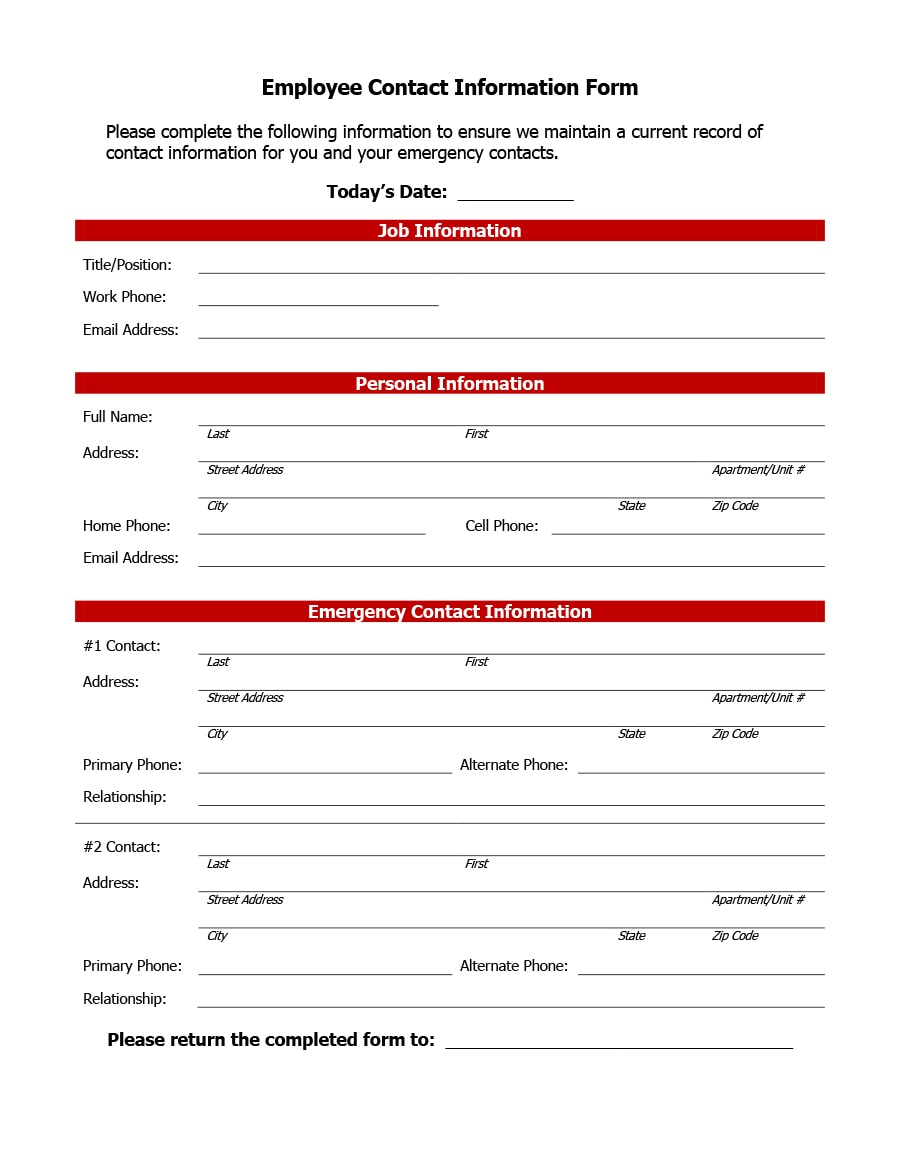 employee information form 38