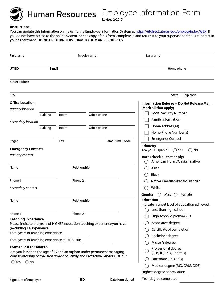 47 printable employee information forms personnel information sheets employee information form 44 falaconquin