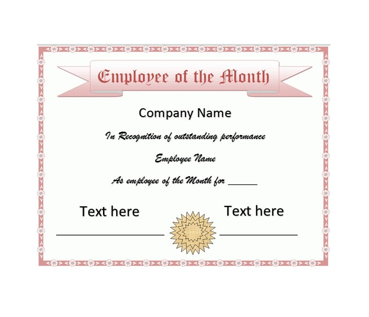 employee of the month certificate template 05 - Certificate Of Employee Of The Month Template
