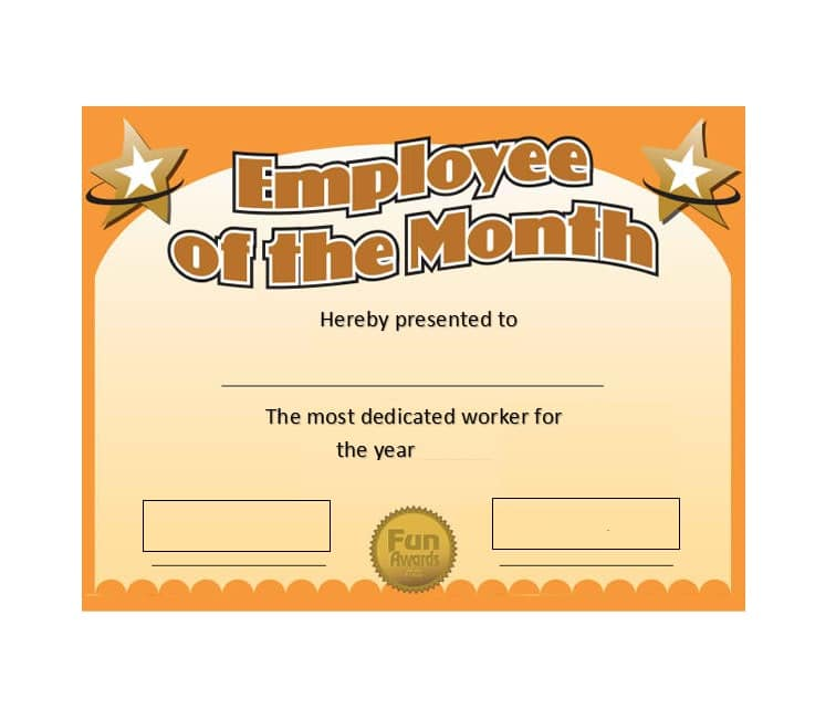 Employee Of The Month Certificate Template 06  Certificates Templates