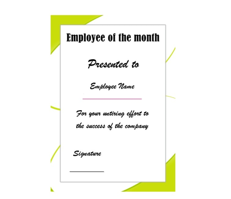 30 printable employee of the month certificates for Employee of the month certificate template with picture