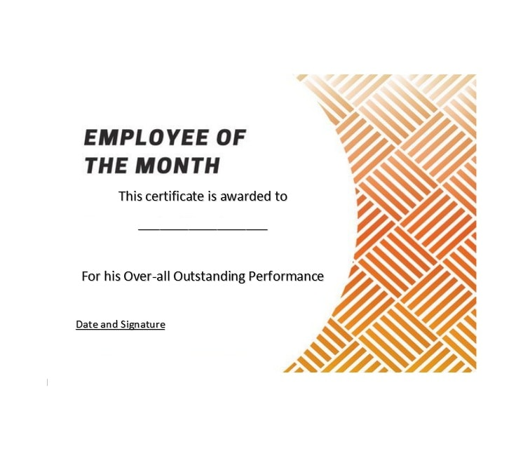 Printable Employee Of The Month Certificates  Template Archive