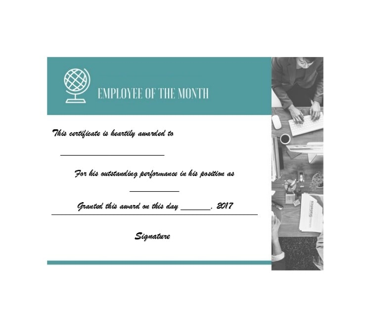employee of the month certificate template 17