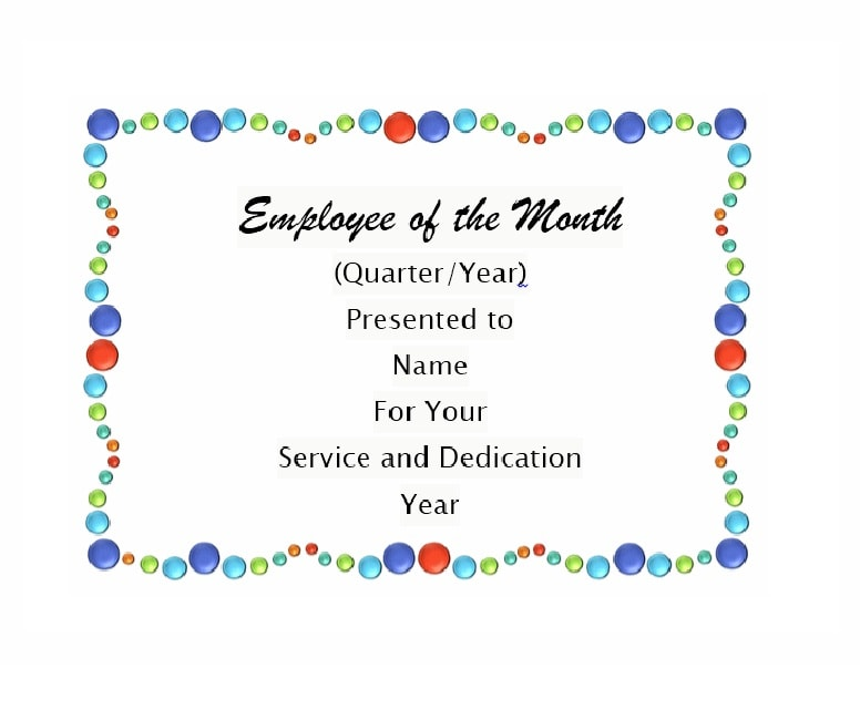 employee of the month certificate template 19 - Certificate Of Employee Of The Month Template