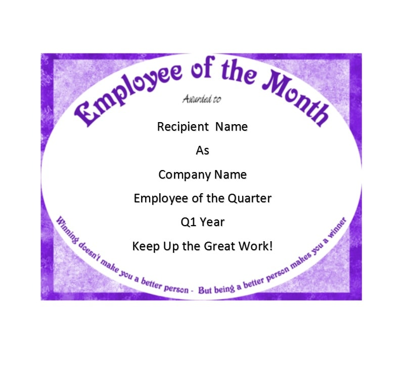image about Employee of the Month Printable Certificate titled 30+ Printable Staff of the Thirty day period Certificates - Template