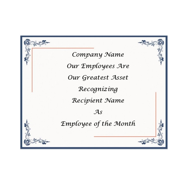 employee of the month certificate template 22 - Certificate Of Employee Of The Month Template