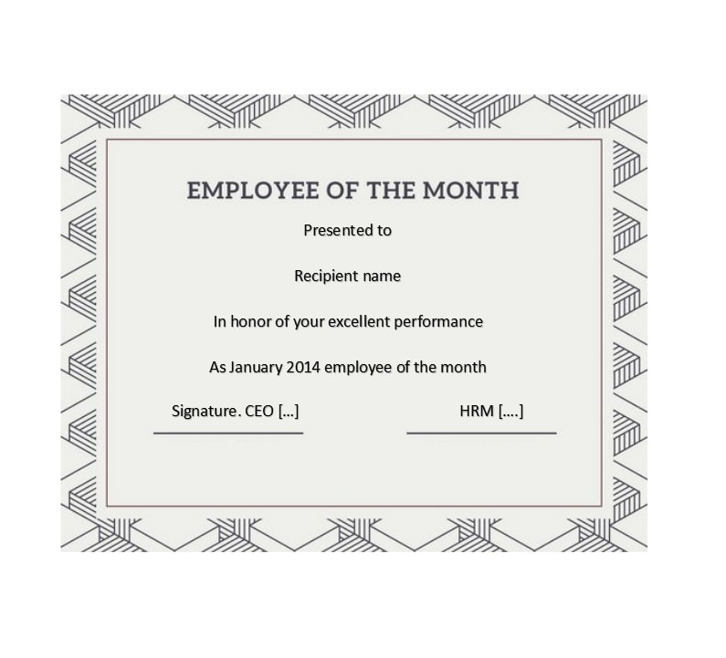 employee of the month certificate template 26 - Certificate Of Employee Of The Month Template