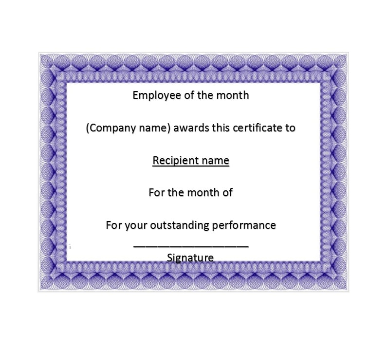 30 printable employee of the month certificates template archive employee of the month certificate template 28 yelopaper Gallery