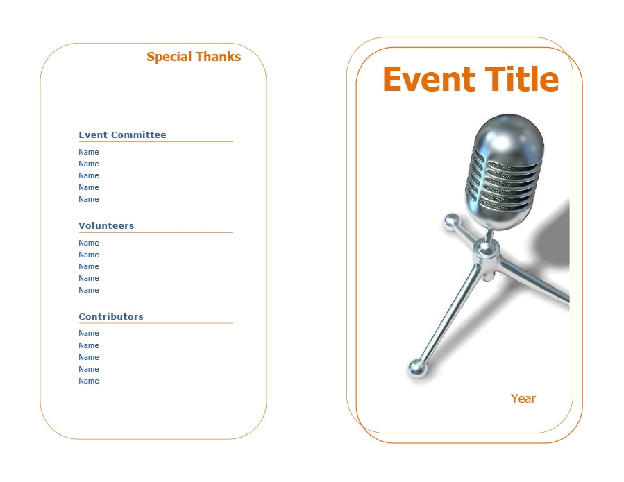 Free Event Program Templates  Designs  Template Archive