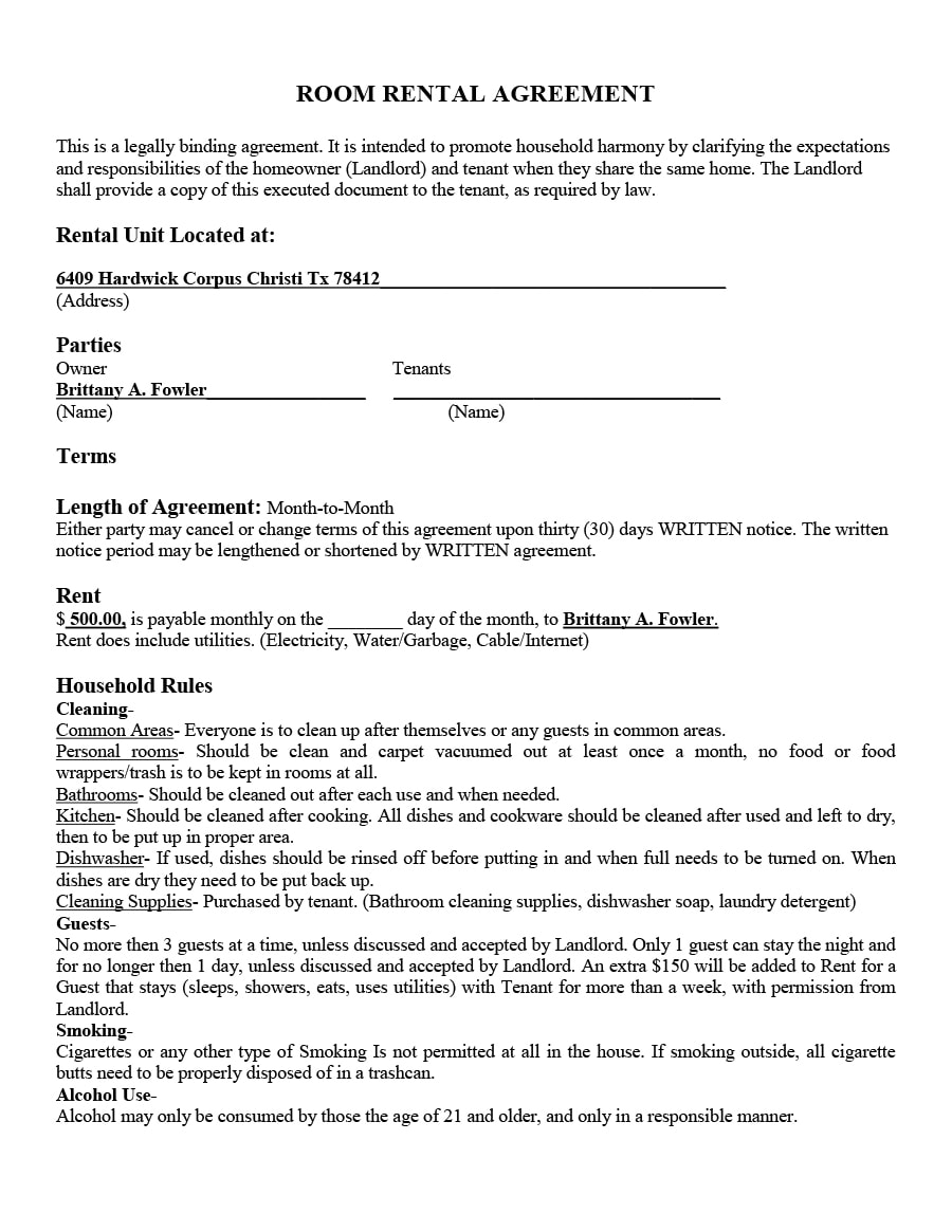 Rent Room Agreement Form Uk