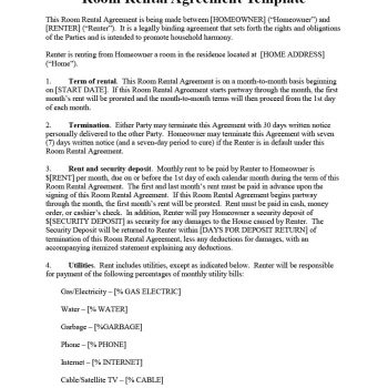 Room Rental Agreement 02  Agreement Templates