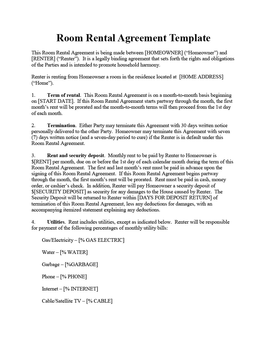 Room Rental Agreement 02  House Rental Agreement Template