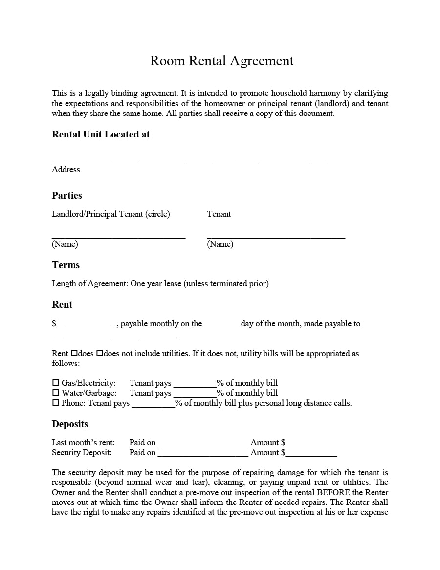 Free Lease Agreement Template For Renting A Room