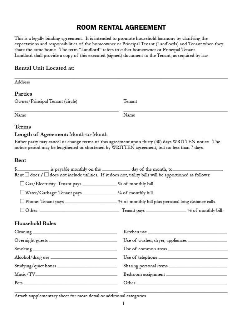 39 Simple Room Rental Agreement Templates Template Archive – Room Rental Agreements