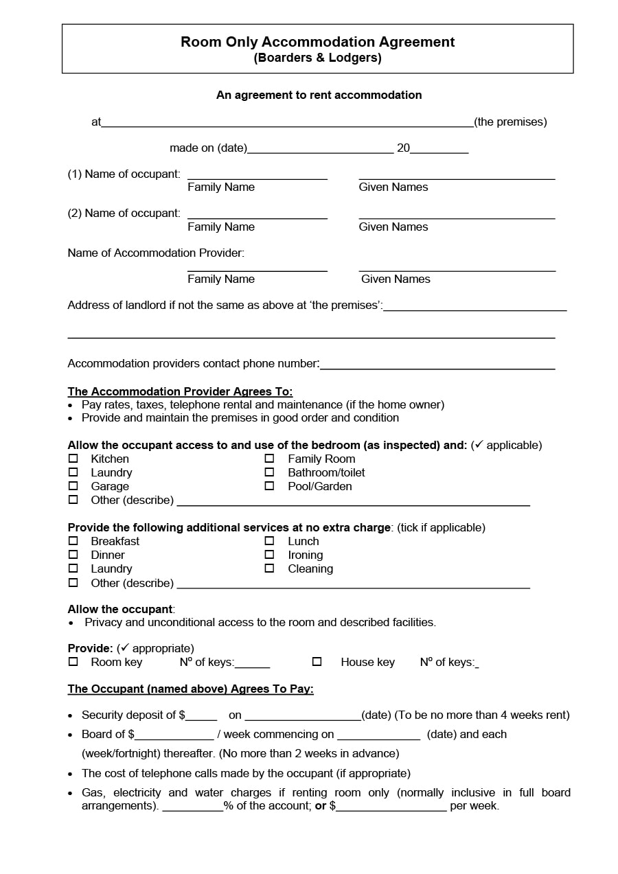 Room Rental Contract Room Rental Agreement Form