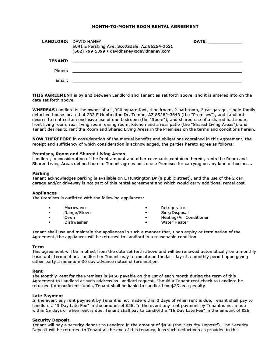 Room Rental Agreement 08